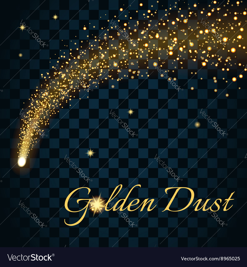 Golden sparkling falling star 2 transparent vector