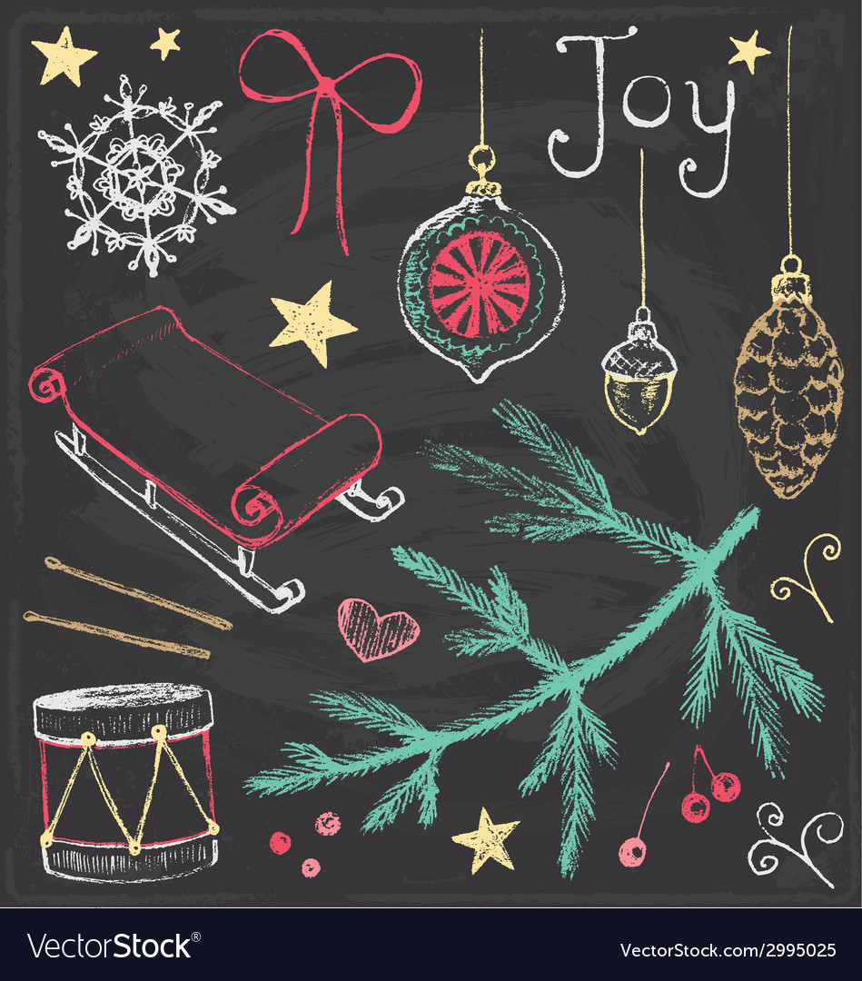 Vintage christmas chalkboard hand drawn set 4 vector