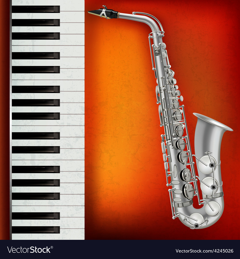 Abstract grunge red background with saxophone and vector