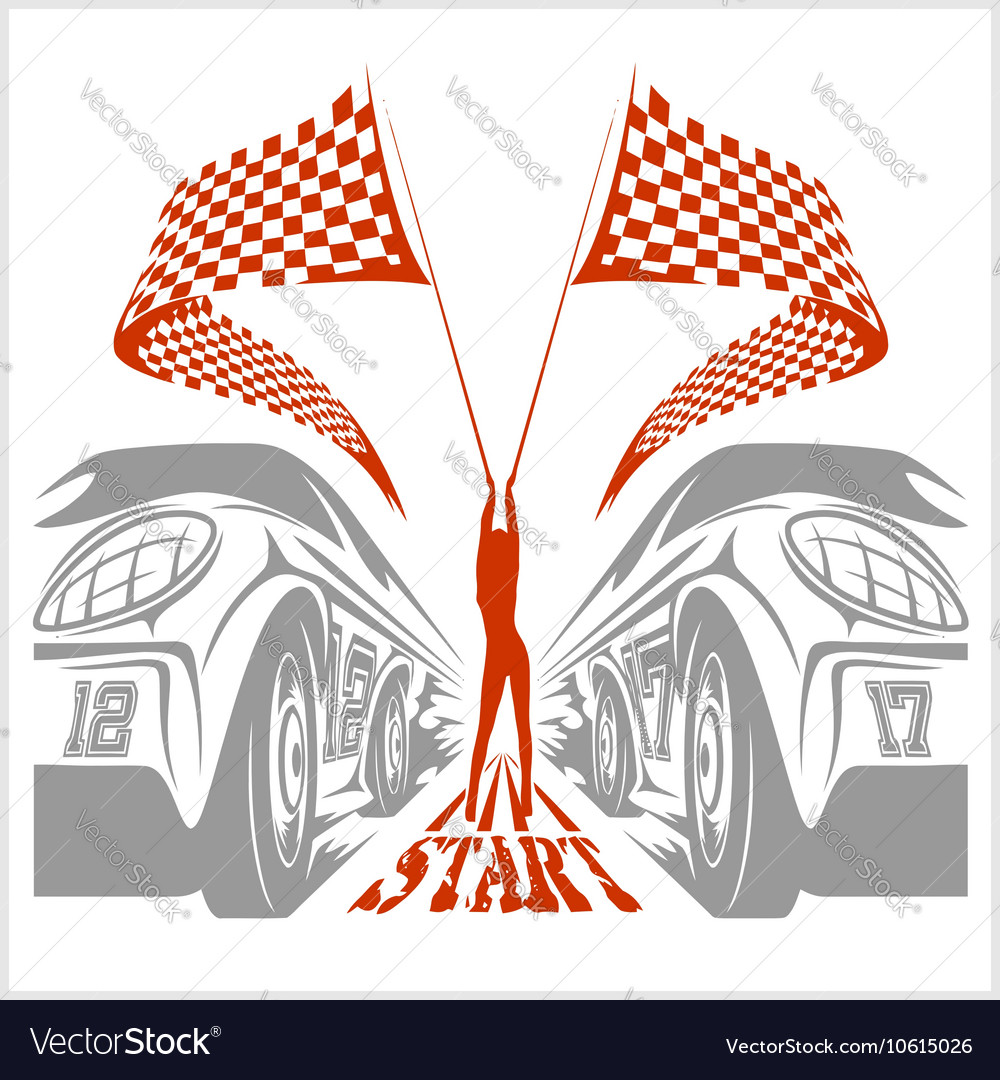 Racing girl with flags vector