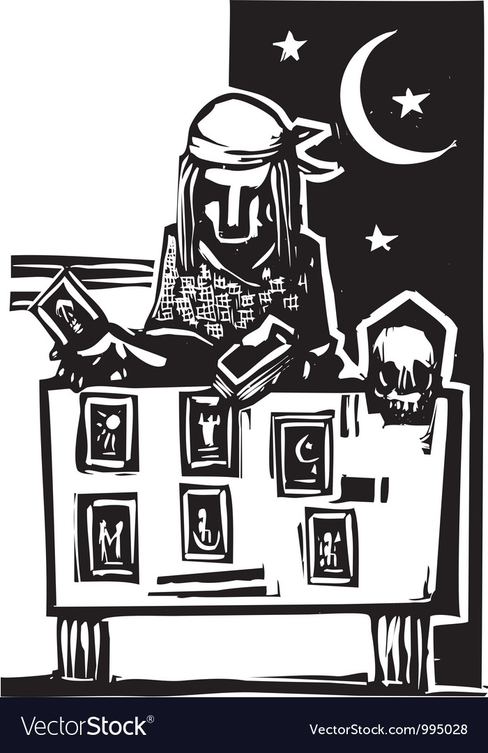 Gypsy tarot reading simple vector