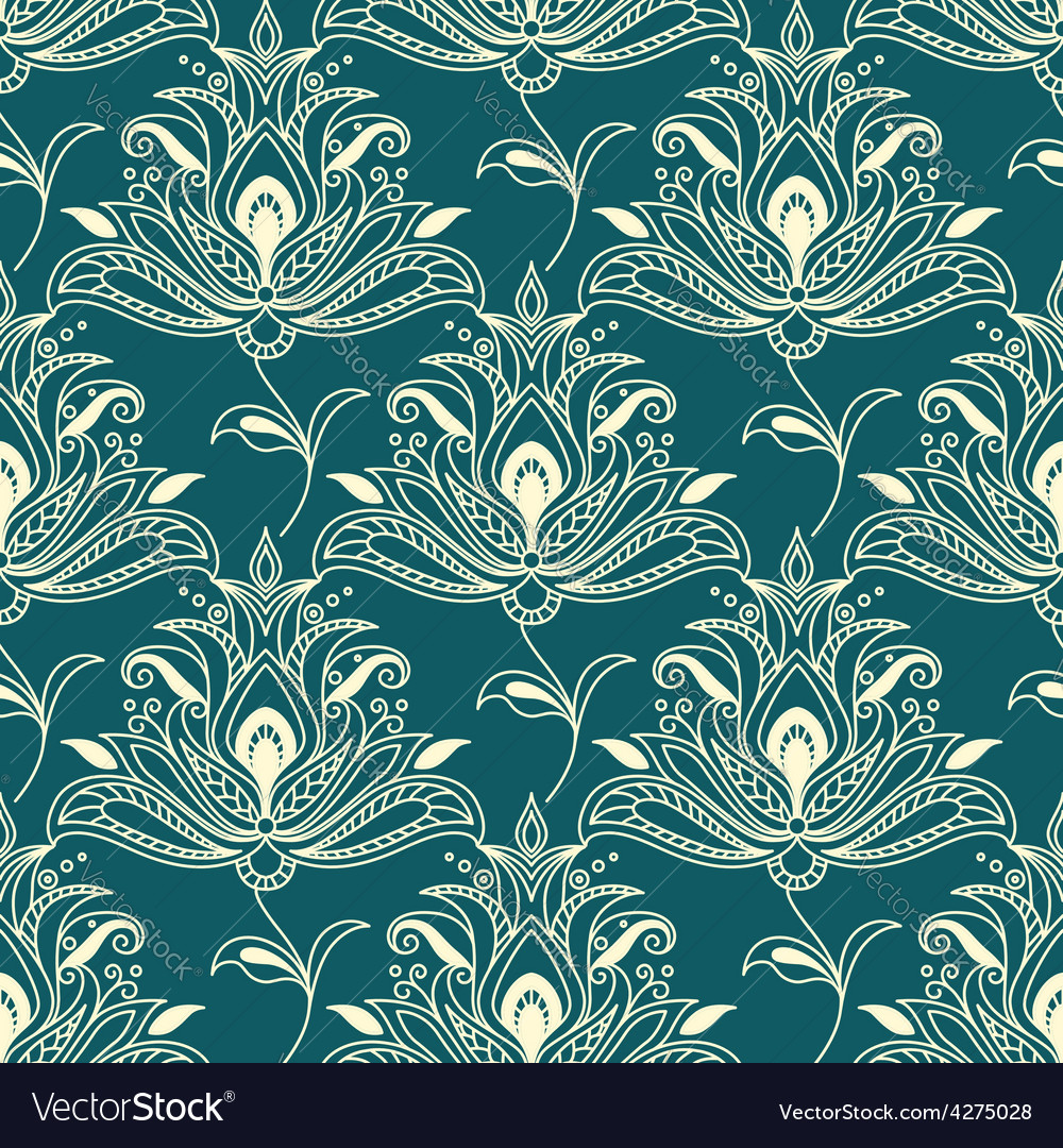 Indian styled floral ornament seamless pattern vector
