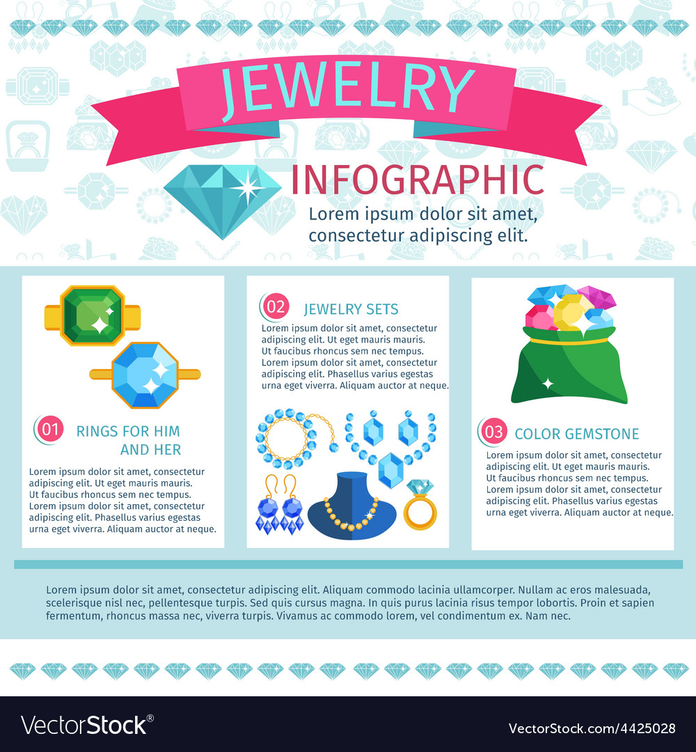 Precious jewels infographics vector