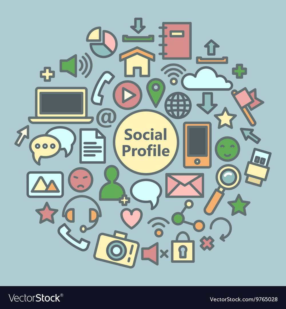Social media icons set network symbols vector