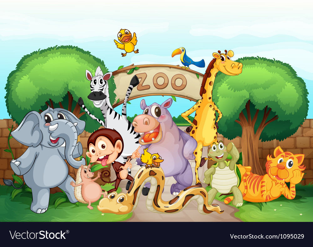 A zoo and the animals vector