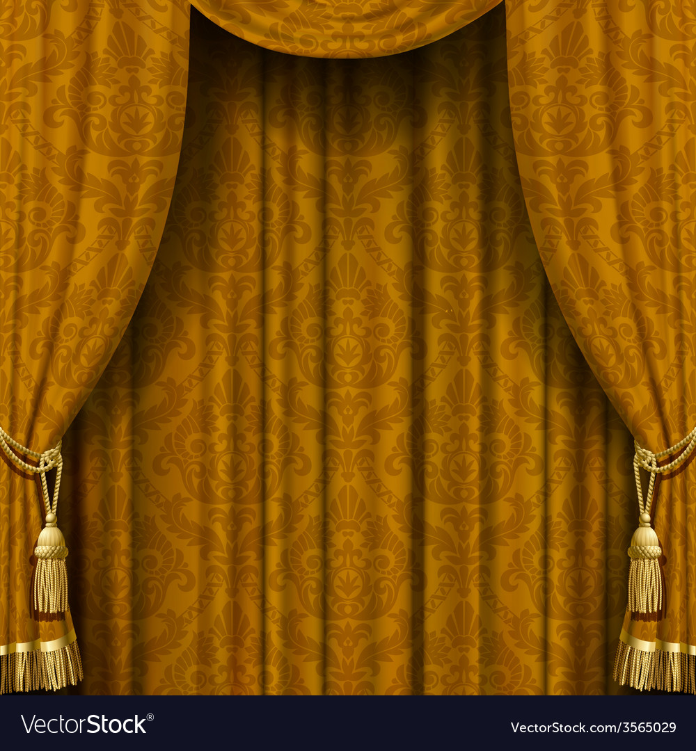 Yellowbrown curtain vector