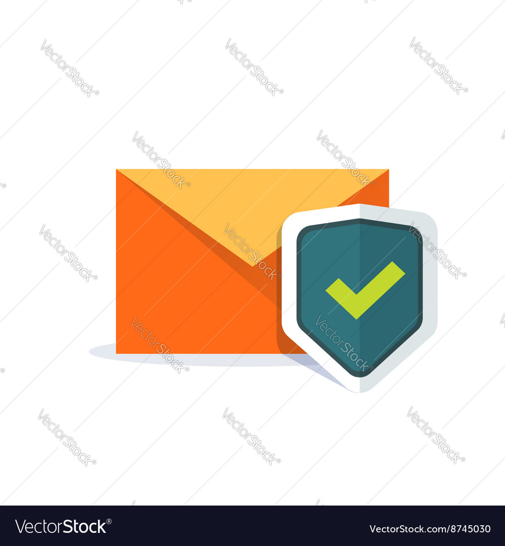 Email security concept orange email envelope vector