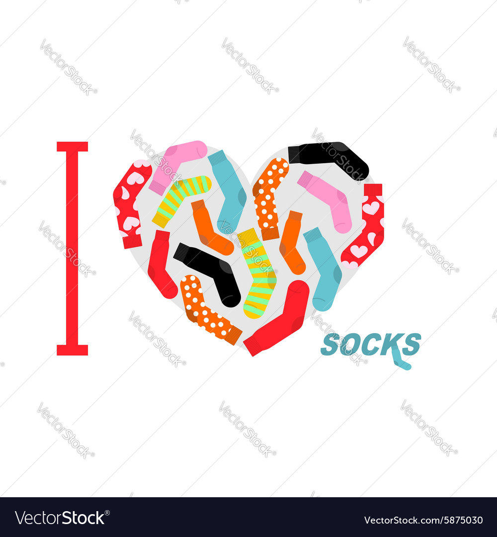 I love clean socks heart symbol of colored clean vector