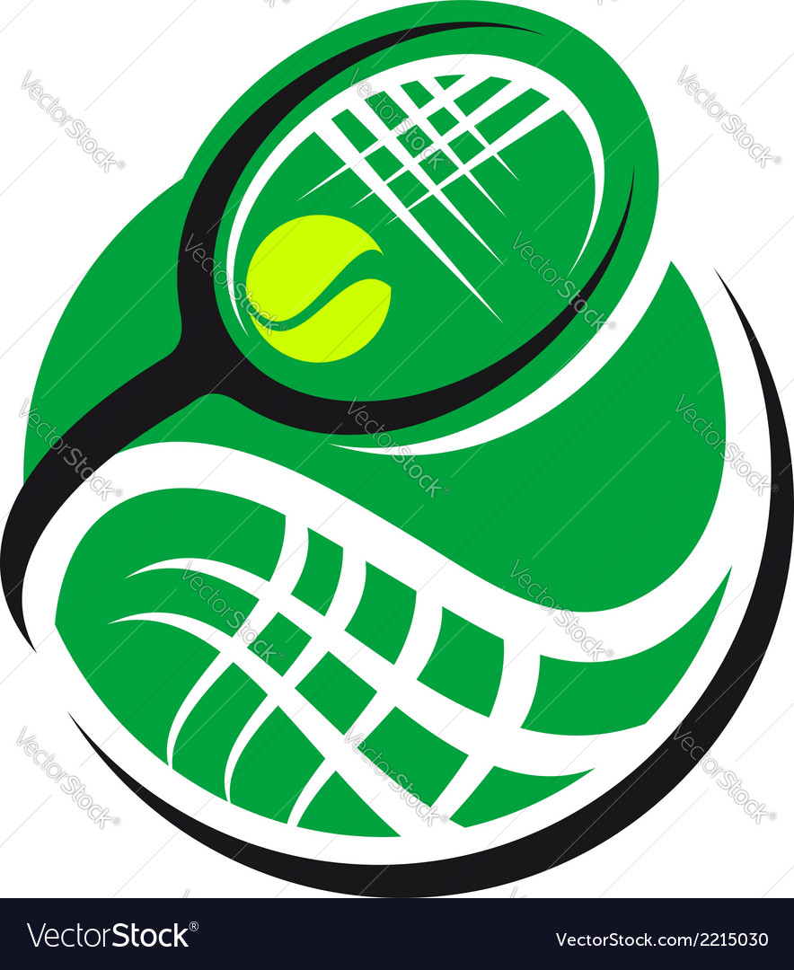 Tennis ball and racquet icon vector