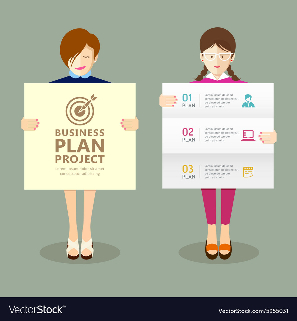 Business woman holding presentation vector