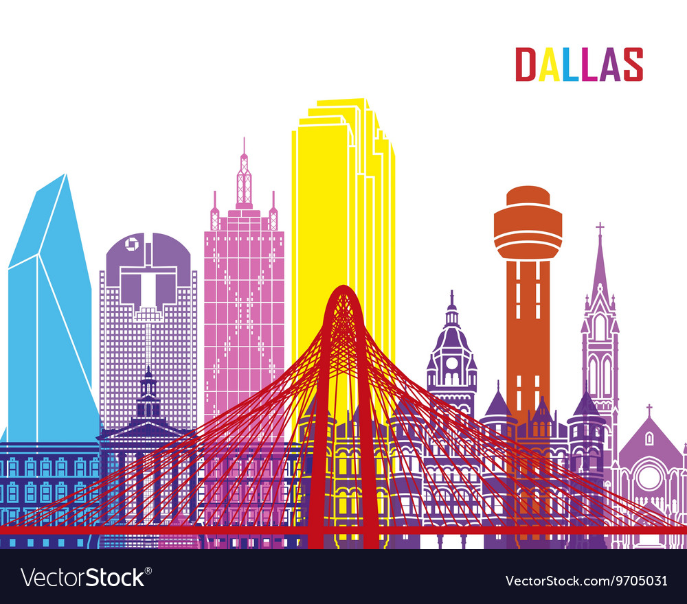 Dallas skyline pop vector