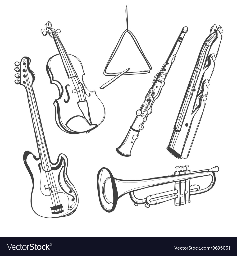 Handdrawn instruments vector