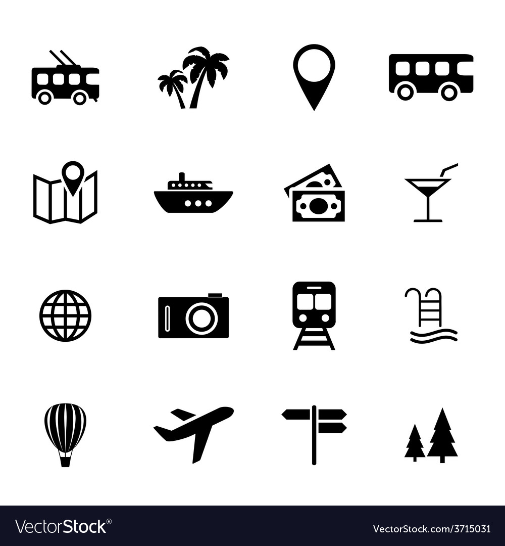 Set of flat icons  holiday travel and tourism vector