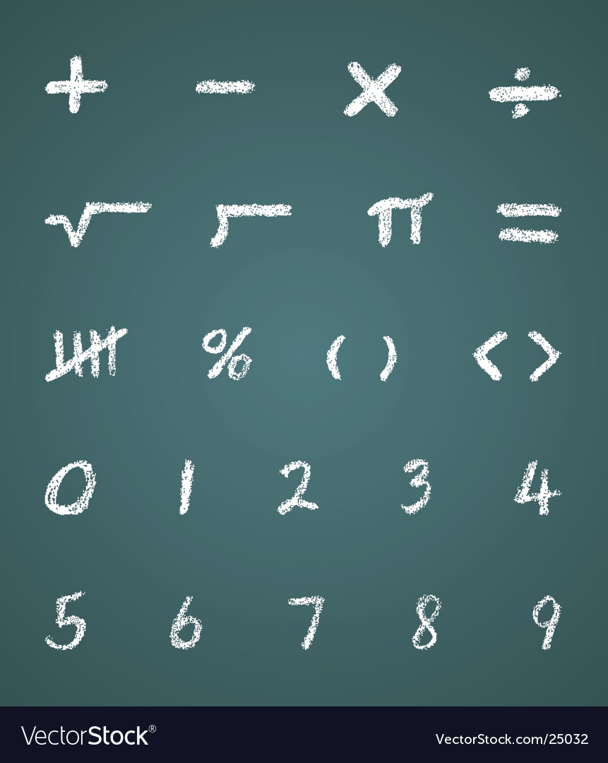 Chalk math symbols and numbers vector