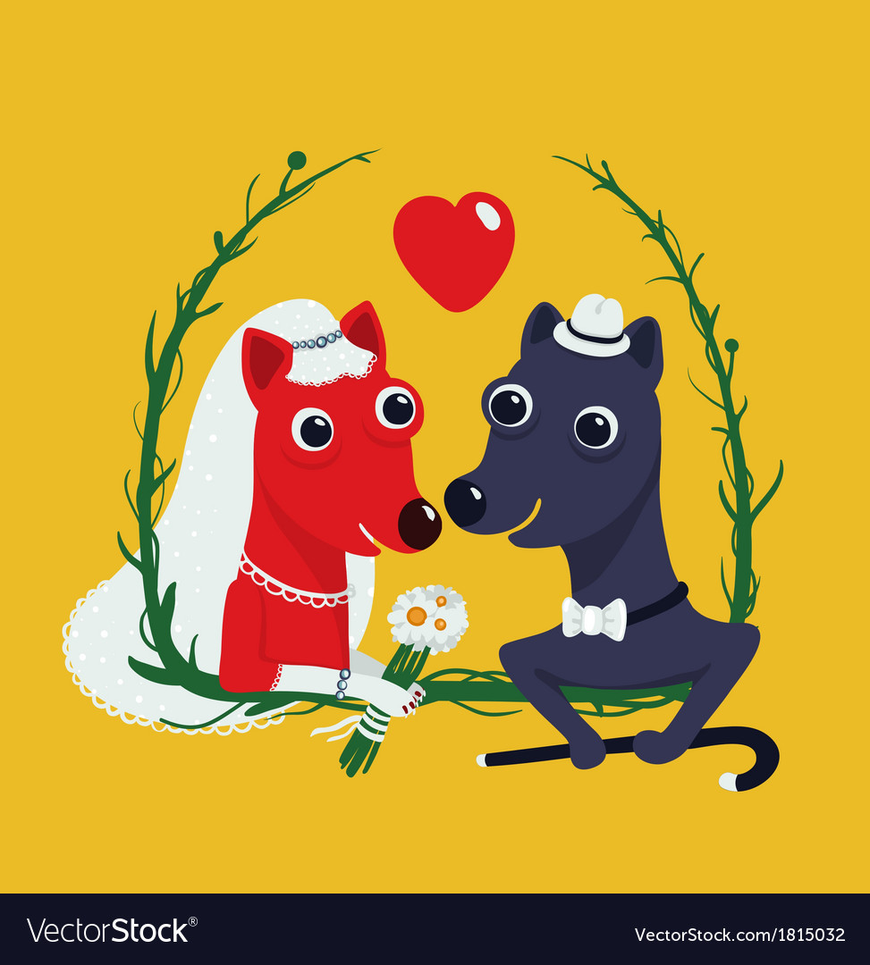 Dogs bride and groom funny portrait vector