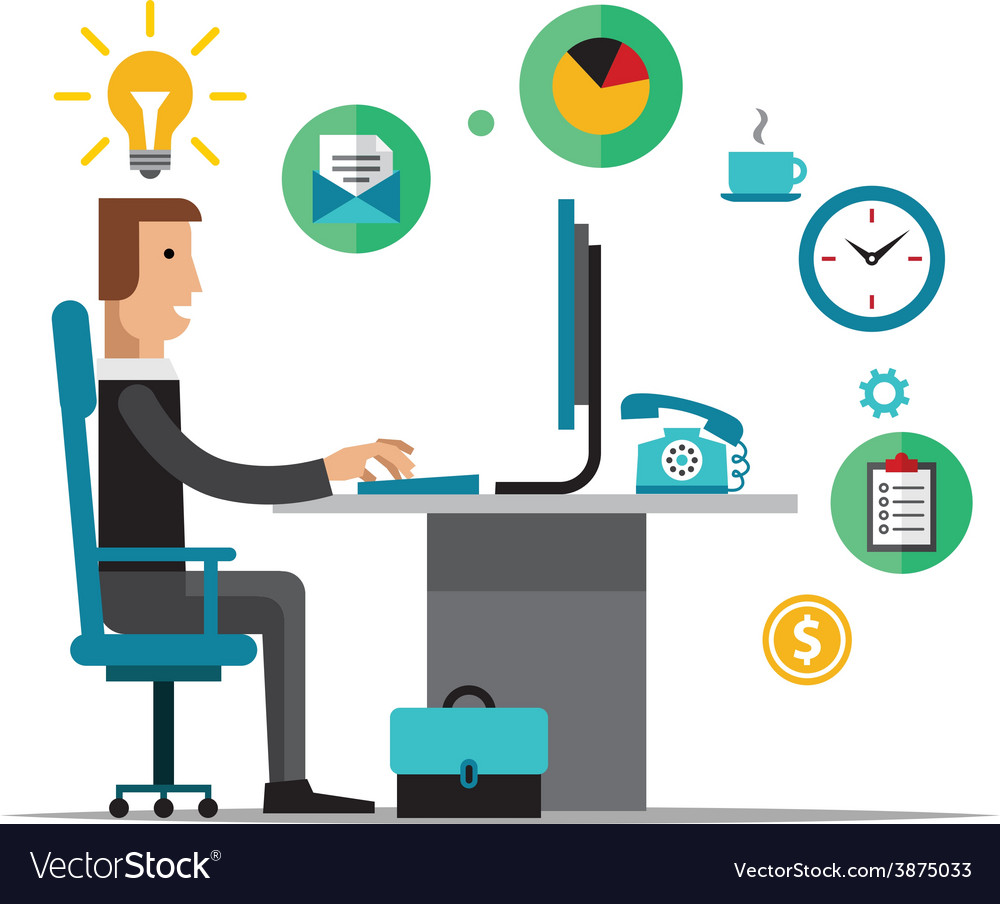 Flat design of office vector