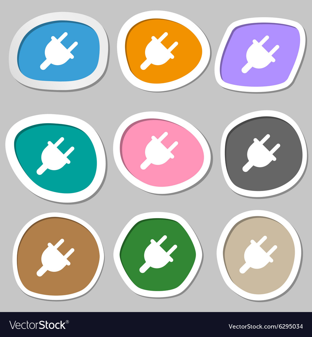 Electric plug power energy icon symbols vector