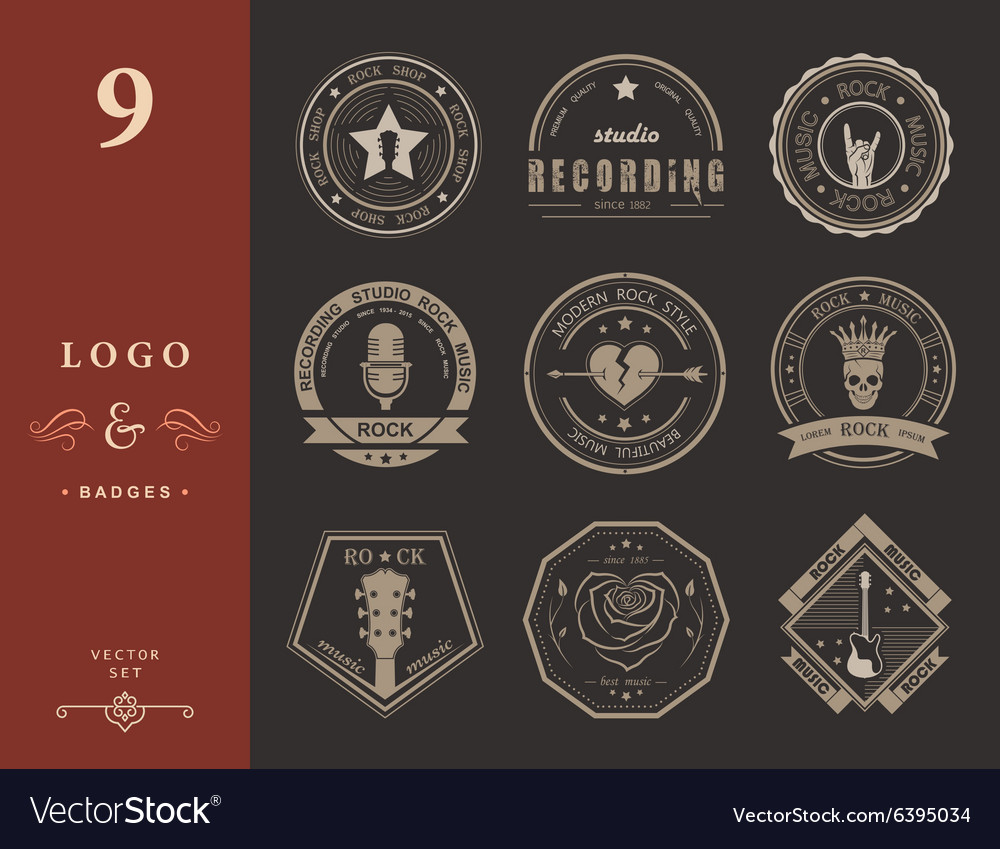 Set of vintage logos of rock music and rock and vector