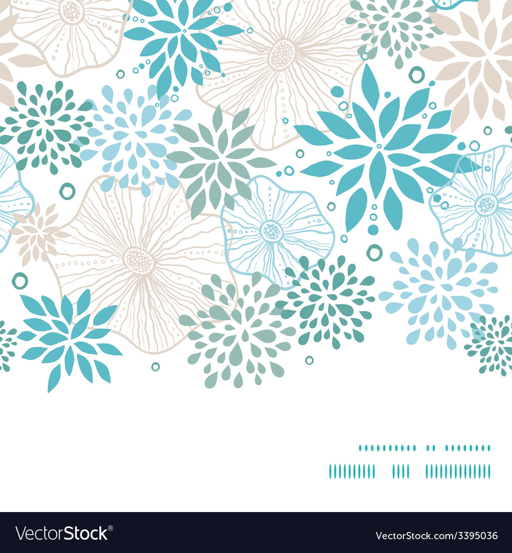 Blue and gray plants horizontal frame seamless vector