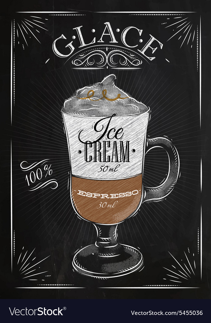 Poster glace chalk vector