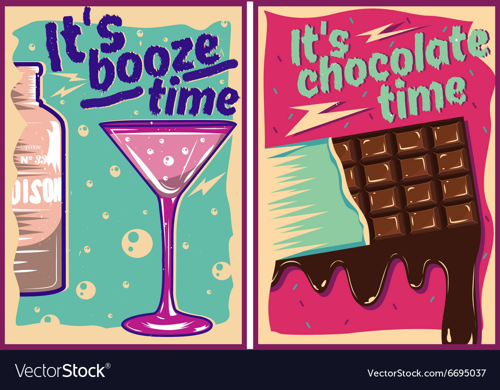 Chocolate and cocktail posters in vintage style vector