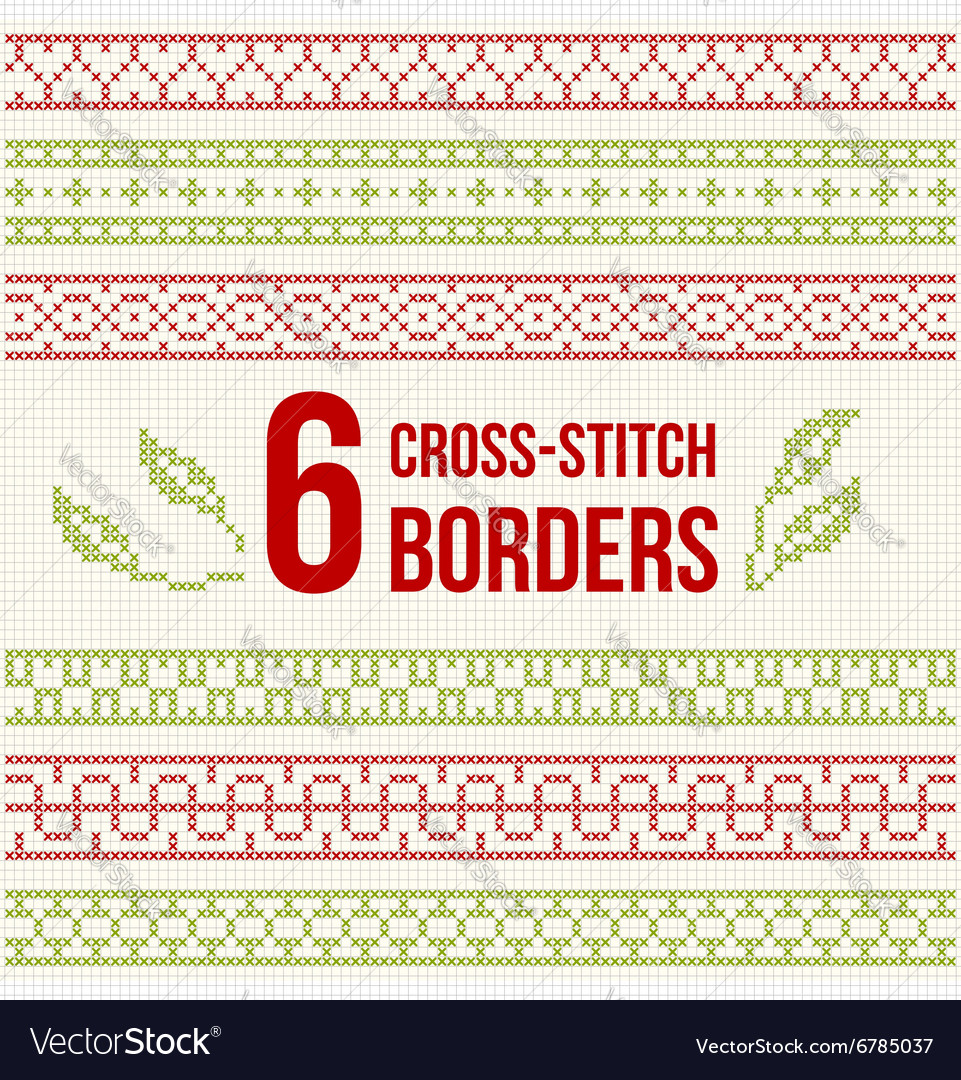 Crossstitch embroidery  set of borders vector