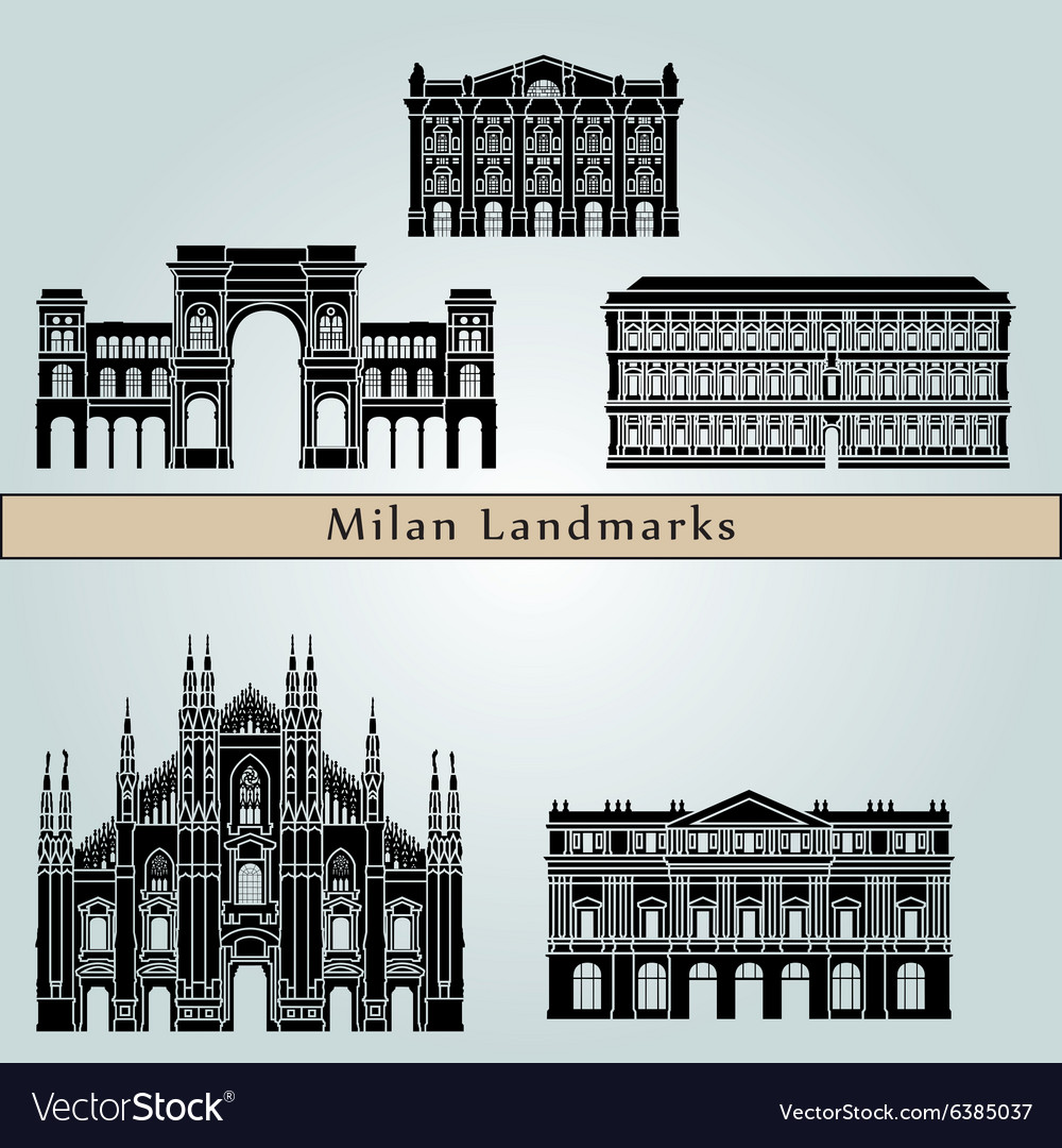 Milan landmarks and monuments vector