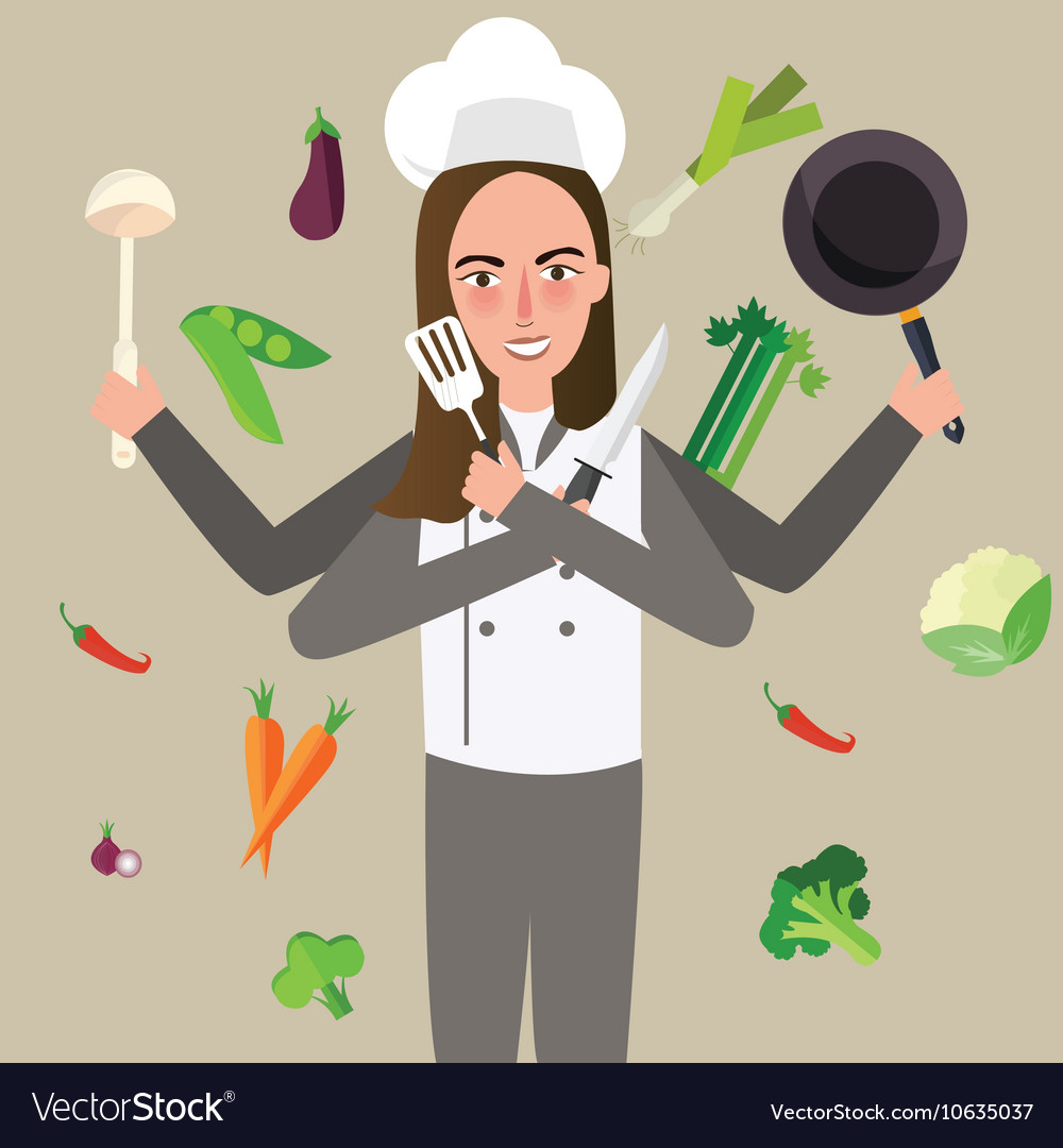Woman cheff holding knife vegetable pan flying vector
