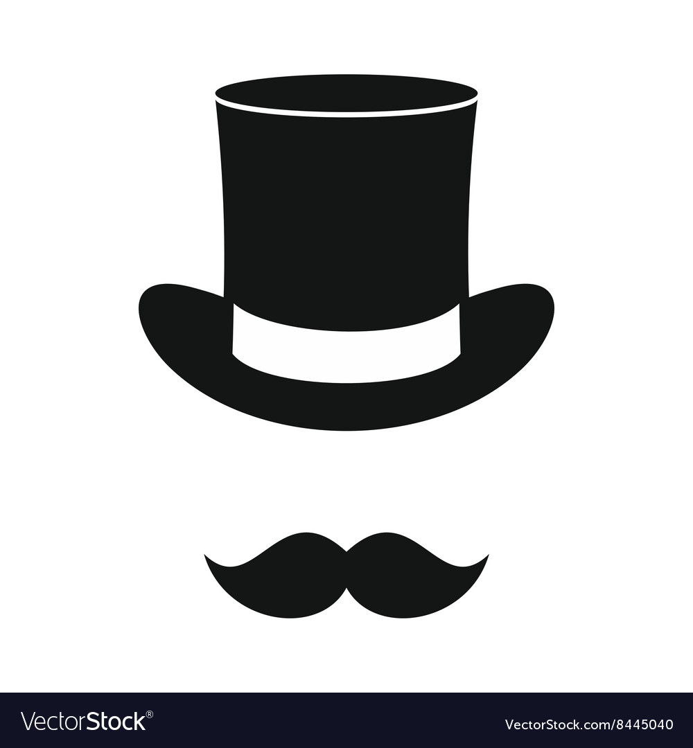 Male black mustache and cylinder icon vector