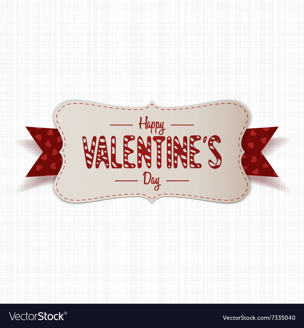 Realistic happy valentines day greeting paper card vector