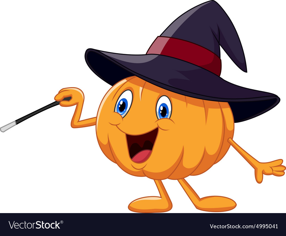 Cartoon pumpkin holding magic wand vector