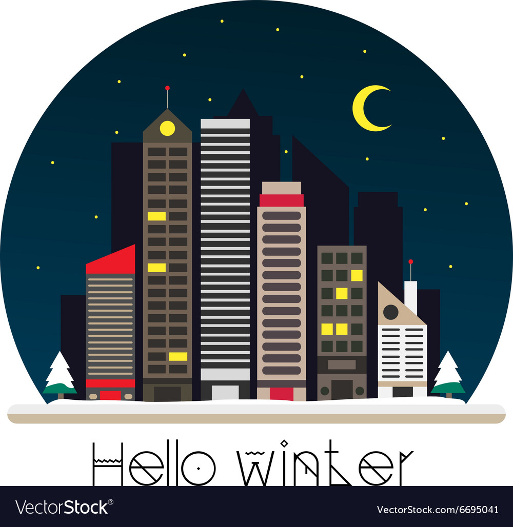 City at night in flat style vector