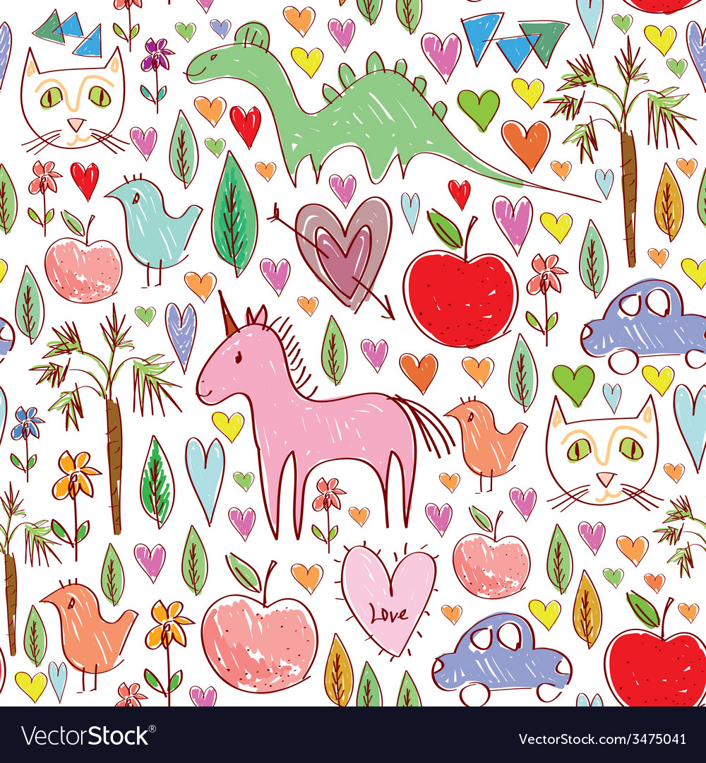 Girls birthday pink seamless pattern with animals vector