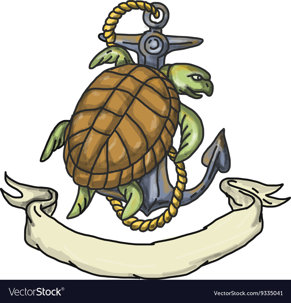 Ridley sea turtle on anchor drawing vector