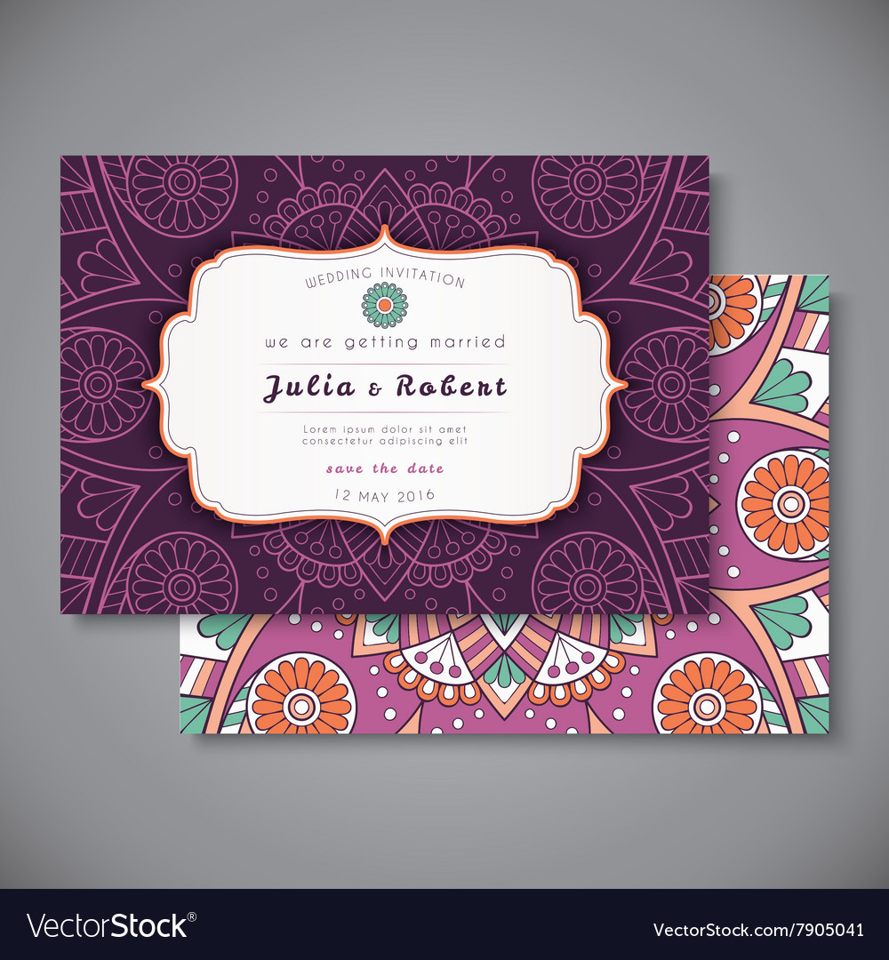 Wedding card or invitation vintage decorative vector