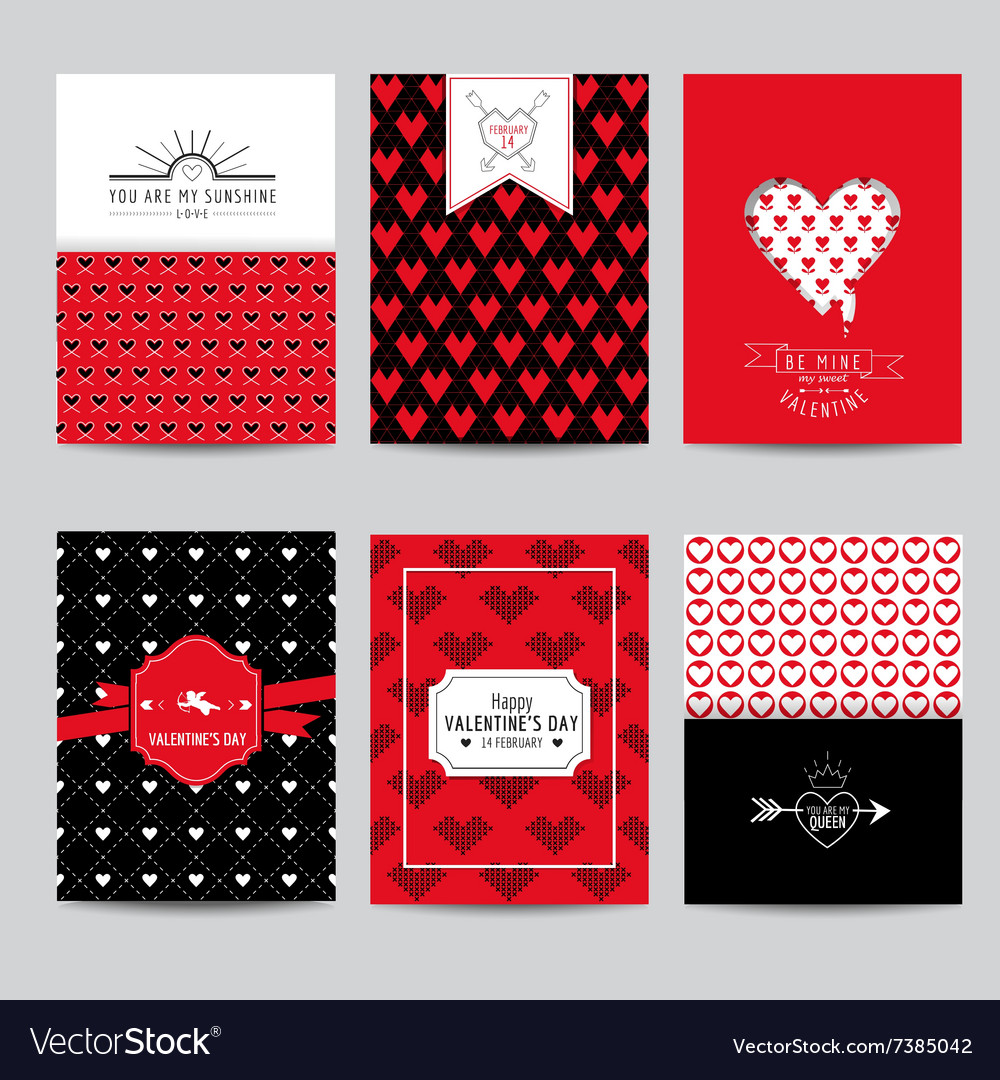 Set of love cards  wedding valentines day vector