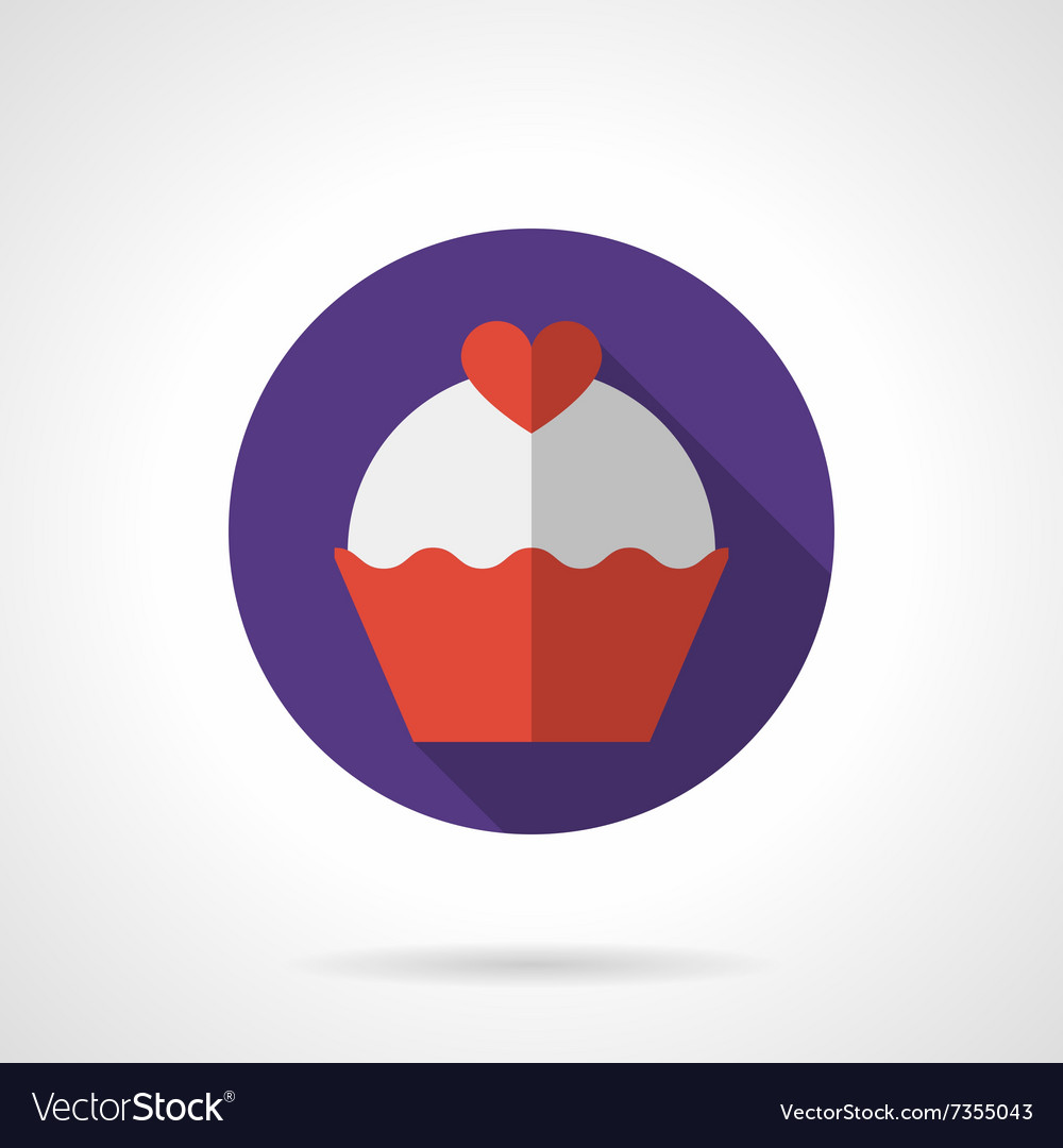Valentine cupcake purple round flat icon vector