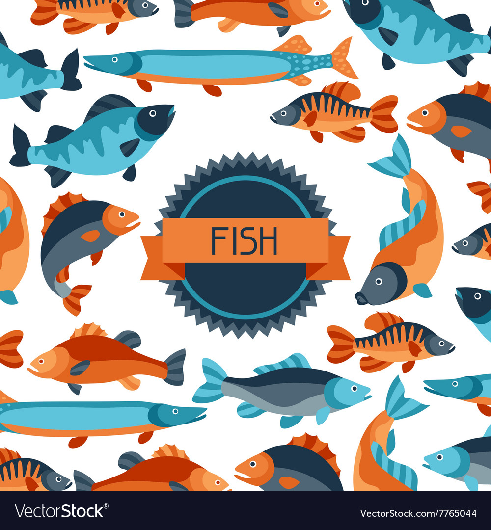 Background with various fish image for vector