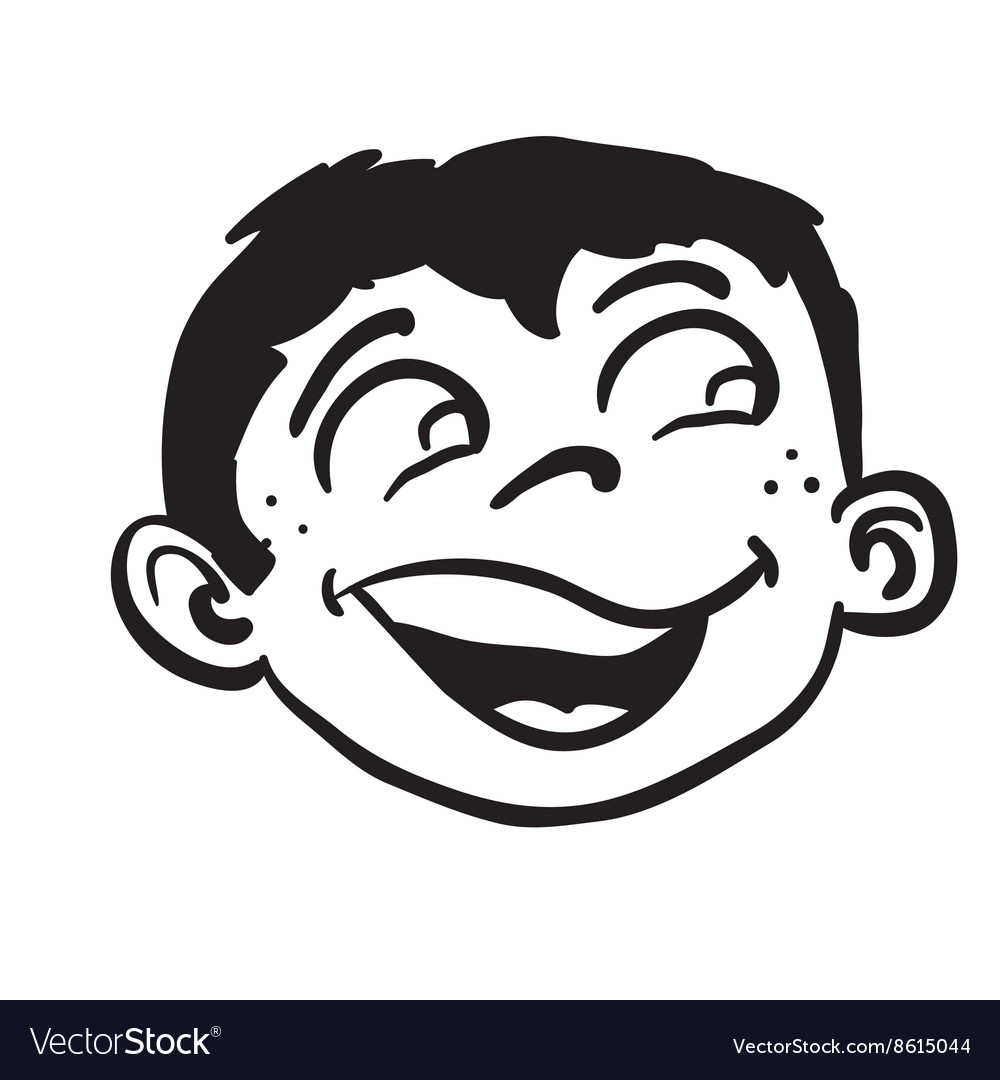 Simple black and white smiling boy head vector