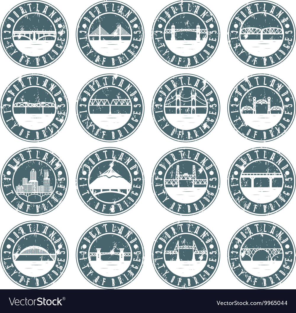 Vintage grunge labels set of portland oregon usa vector