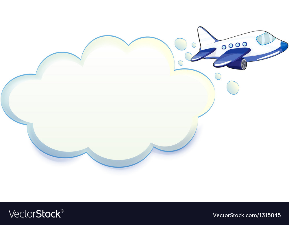 An airplane passing through the cloud vector