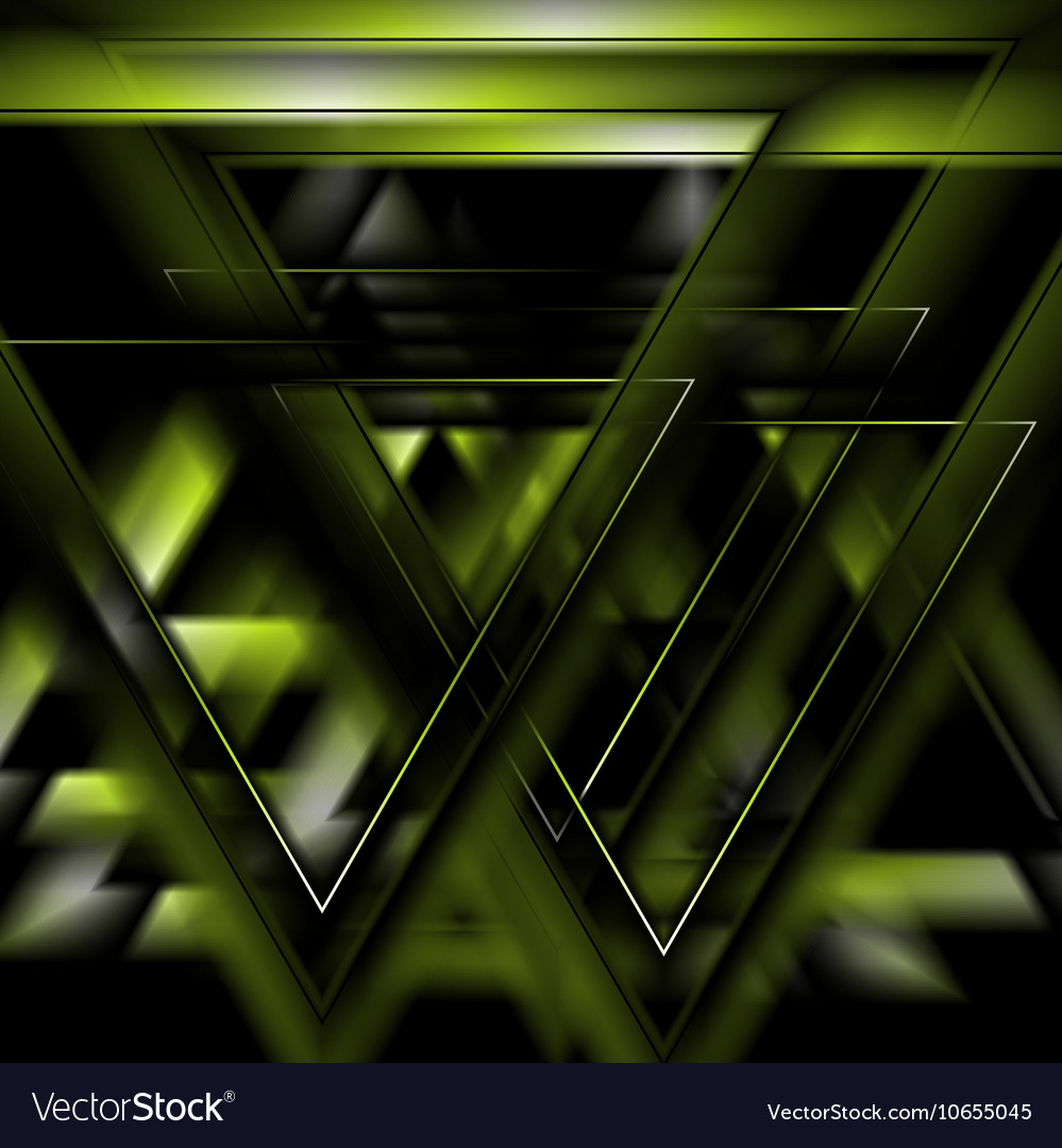 Dark green tech futuristic triangles background vector