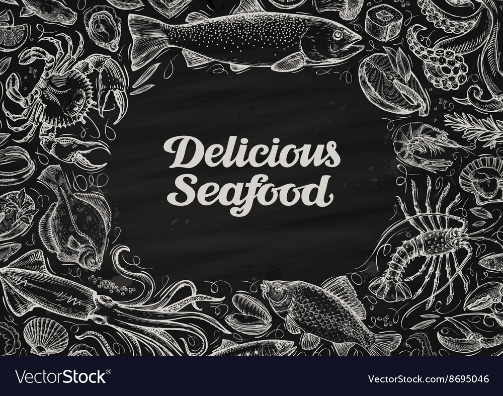 Delicious seafood hand drawn food on chalkboard vector