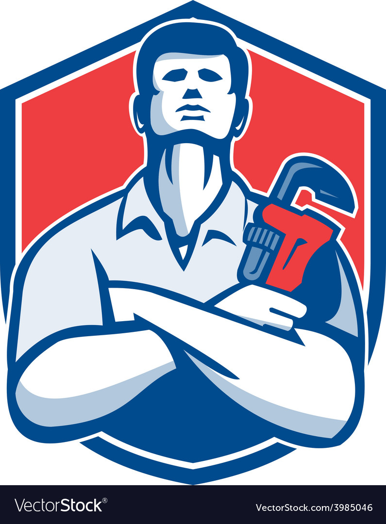 Handyman plumber monkey wrench shield retro vector