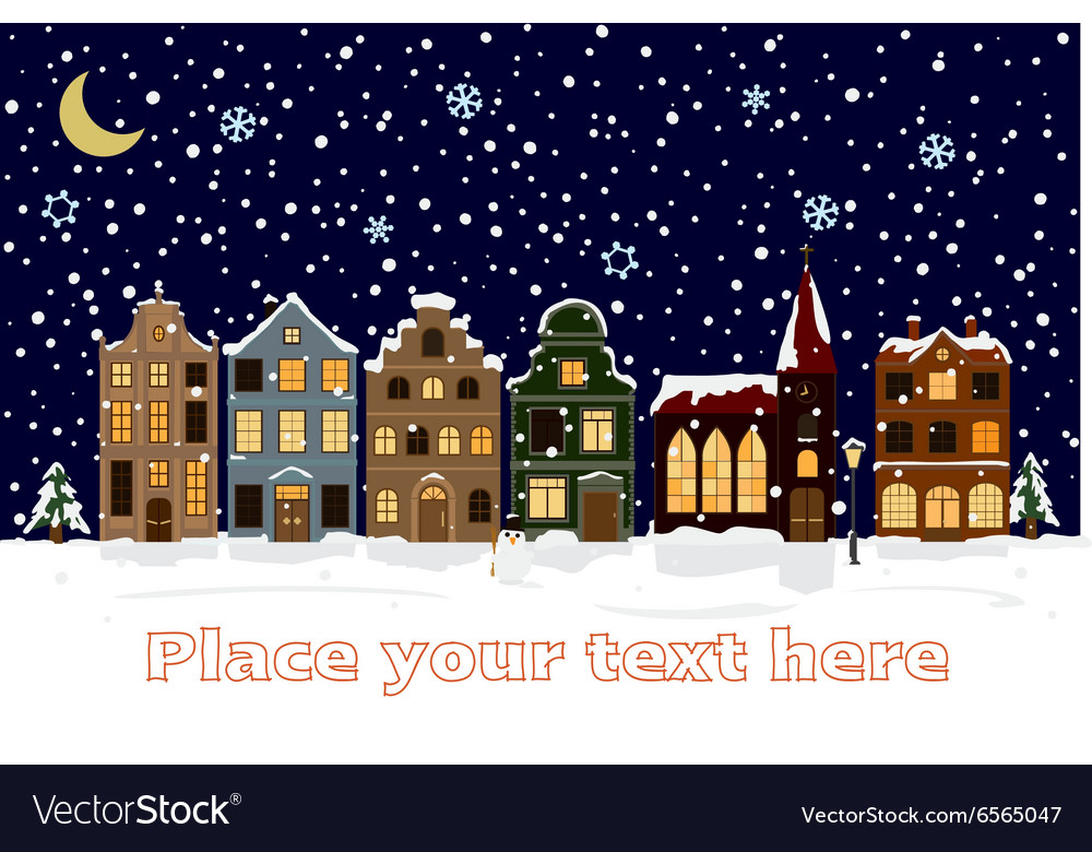 Winter cityscape with space for text vector