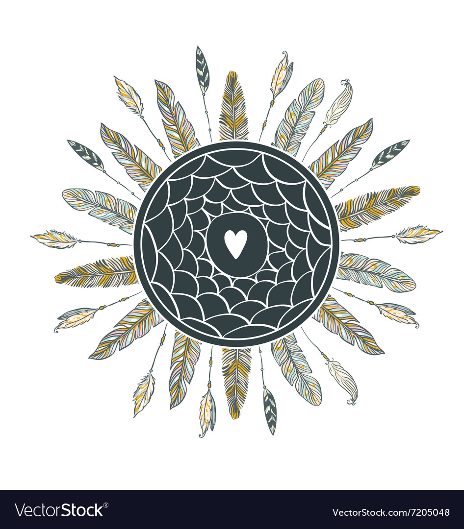 Dream catcher with feathers beautiful handdrawn vector