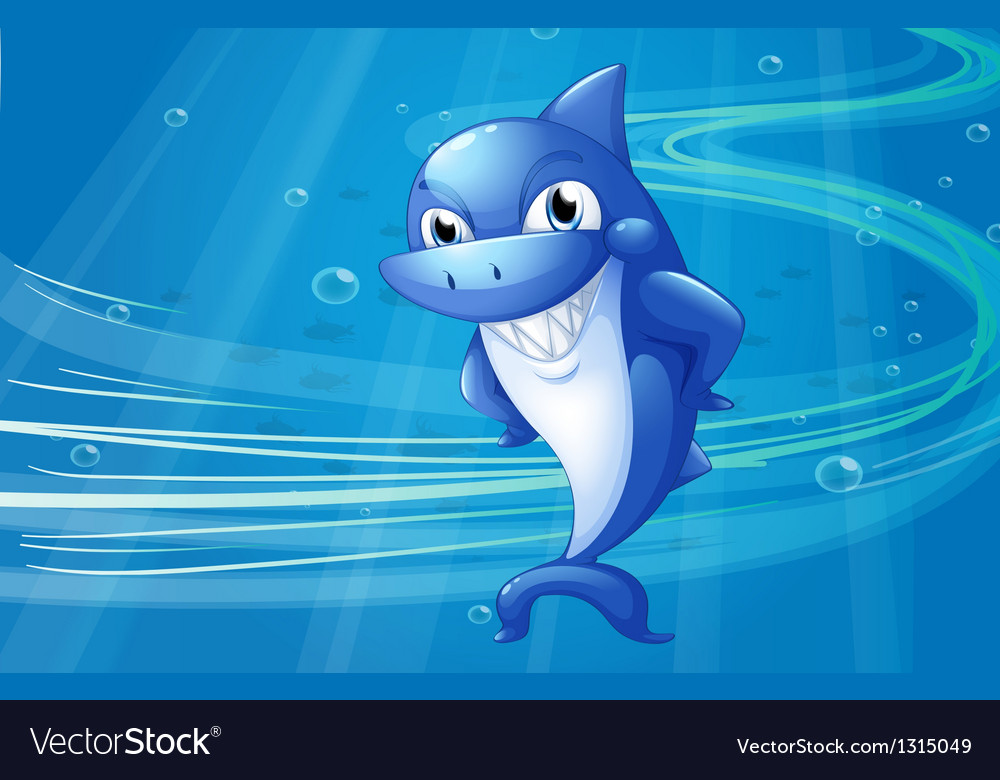 A blue shark under the sea vector