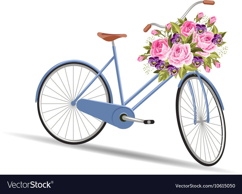 Blue bicycle with a basket full of flowers vector