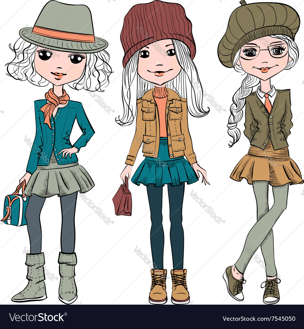 Set cute fashion hipster girl vector