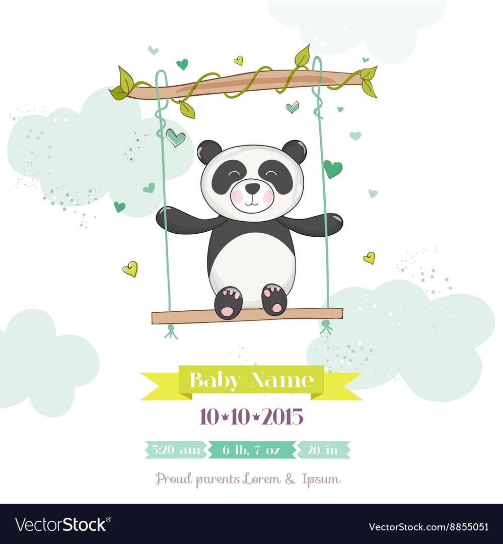 Baby shower or arrival card  baby panda vector